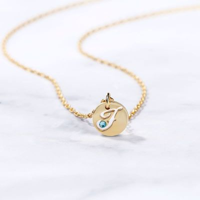 """Personalized Initial Coin Pendant Necklace with Birthstone Adjustable 16""""-20"""""""