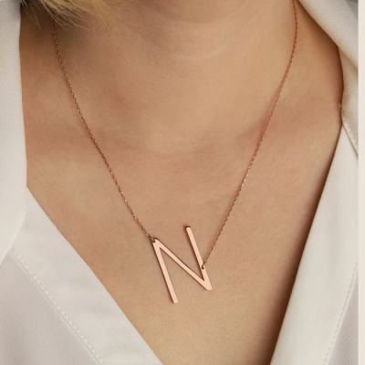 Copper/925 Sterling Silver Sideways Large Initial Necklace Adjustable Chain 16