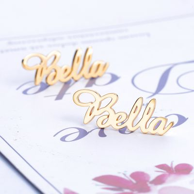 925 Sterling Silver Personalized Name Stud Earrings