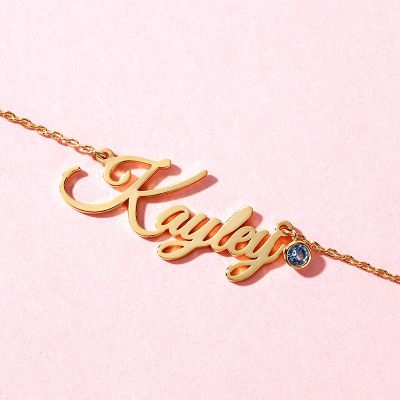 """Kayley - Personalized Classic Name Necklace with Birthstone Adjustable 16""""-20"""""""