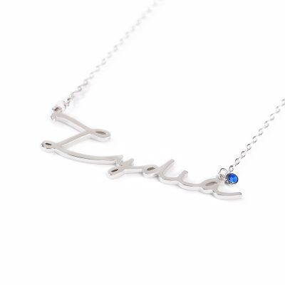 "Lydia - 925 Sterling Silver Personalized Signature Style Name Necklace with Birthstone Adjustable 16""-20"""