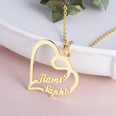 """Double Names - Personalized Heart Name Necklace Adjustable 16""""-20"""""""