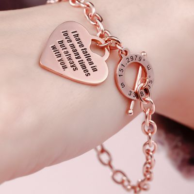 "Personalized Engravable Bracelet with Heart Length Adjustable 6""-7.5"""
