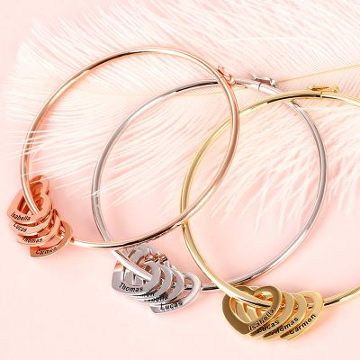 925 Sterling Silver Personalized Bangle Bracelet with Heart Pendants
