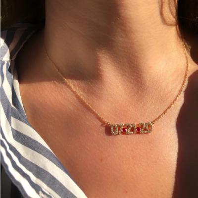 """Custom Diamond Date Necklace Adjustable 16""""-20"""""""
