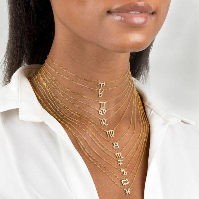 "PISCES - Copper/925 Sterling Silver Diamond Zodiac Necklace Adjustable 16""-20"""