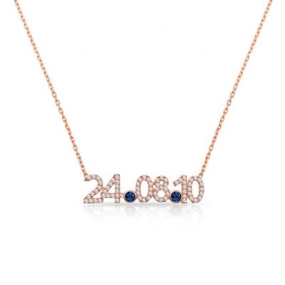 """Copper/925 Sterling Silver Personalized Diamond Date Necklace with Birthstone Adjustable 16""""-20"""""""