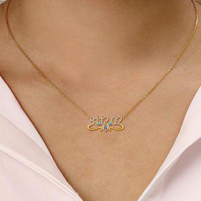 "Britney - Birthday Custom Middle Heart Diamond Date Necklace Adjustable 16""-20"""