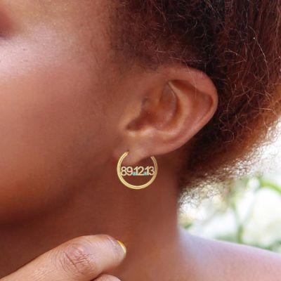 Taylor - Birthday Custom Diamond Date Birthstone Hoop Earrings