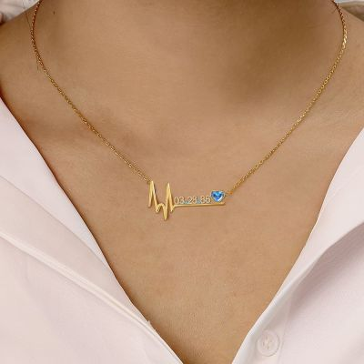 "Stefani - Birthday Custom Date Necklace with Heart Beat Adjustable 16""-20"""