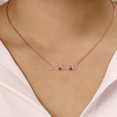"Personalized Diamond Date Necklace with Birthstone Adjustable 16""-20"""