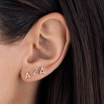 Personalized Diamond Number Stud Earrings