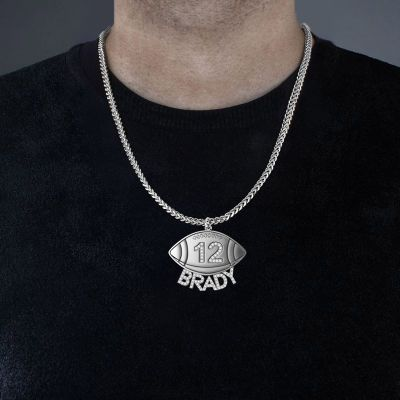 "Brady - Custom Football Diamond Number Name Necklace for Men Adjustable 16""-20"""