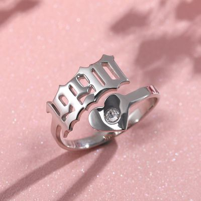 Personalized Year Ring with Birthstone