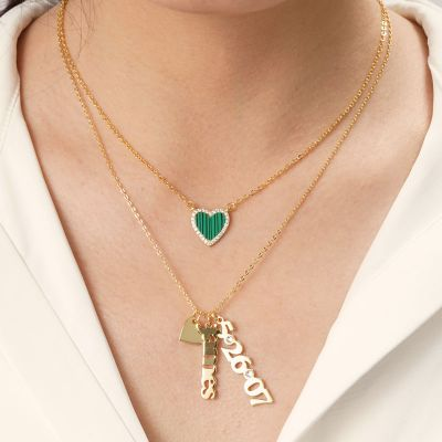"Personalized Dangling Name and Number with Heart Necklace Adjustable Chain 16""-20"