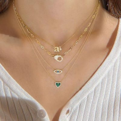 Personalized Initial Pendant Necklace with Birthstone Adjustable Chain 16