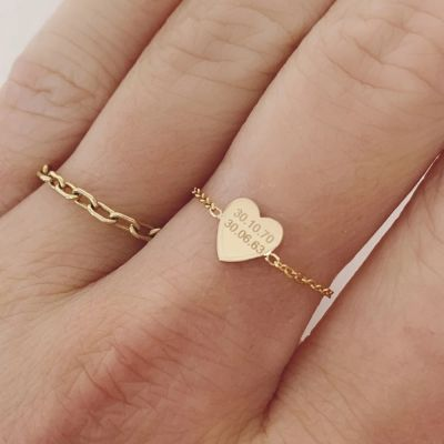 Personalized Mini Heart Chain Rings
