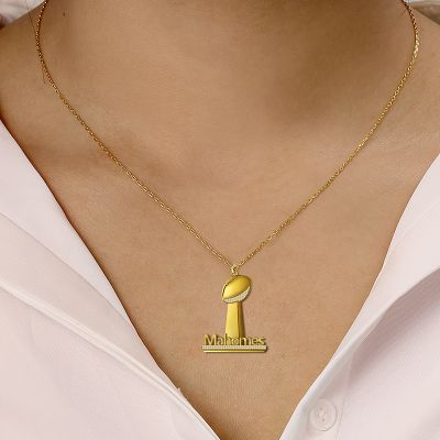 "Mahomes - Custom Name Football Trophy Necklace for Women Adjustable Chain 16""-20"""