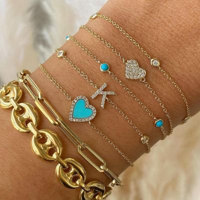 "Turquoise Heart Diamond Bracelet Adjustable 6""-7.5"""