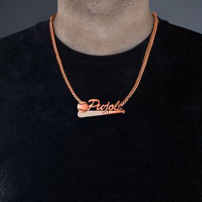 "Pujols - Custom Name Baseball Necklace for Men Adjustable 16""-20"""