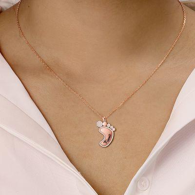 """Kunis - Custom Name Diamond Foot Necklace Adjustable 16""""-20"""""""