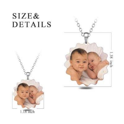 """Stainless Steel Personalized Sunflower Color Photo&Text Necklace Adjustable 16""""-20"""""""