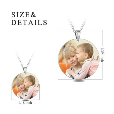 """Stainless Steel Personalized Color Photo&Text Necklace Adjustable 16""""-20"""""""