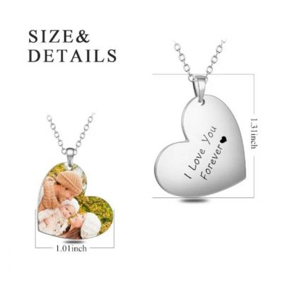 """Love My Family-Stainless Steel Personalized Color Photo&Text Necklace Adjustable 16""""-20"""""""