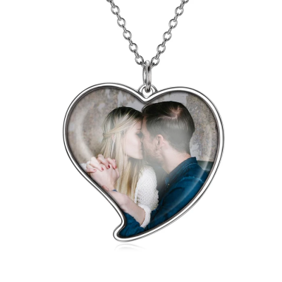Love You - Personalized Heart Color Photo Necklace Adjustable 16