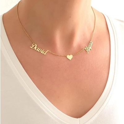 """Personalized Double Name Necklace with Heart Adjustable 16""""-20"""""""