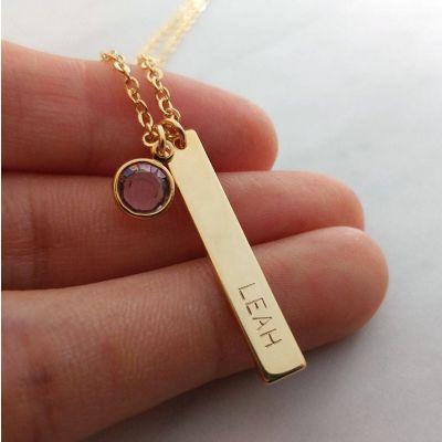 "Custom Name Date Birthstone Tag Necklace Adjustable 16""-20"""