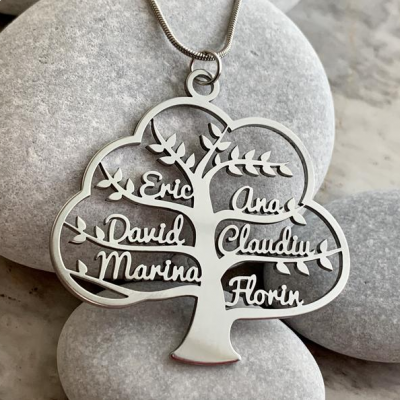 """Custom Family Tree of Life Name Pendant Necklace Adjustable 16""""-20"""""""