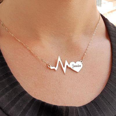 "Jennifer - Personalized Name Heart Pulse Necklace Adjustable 16""-20"""