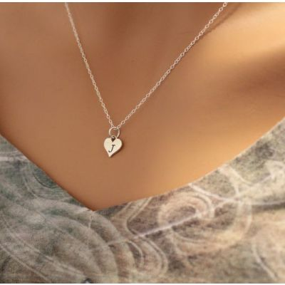 "Custom Letter Heart Necklace Adjustable 16""-20"""