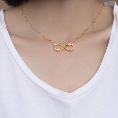 "Personalized Infinity Name Date Necklace Adjustable 16""-20"