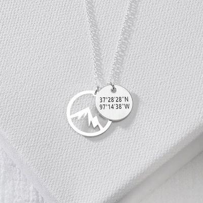 Personalized Mountain Longitude Latitude Pendant Necklace Adjustable Chain 16''-20''