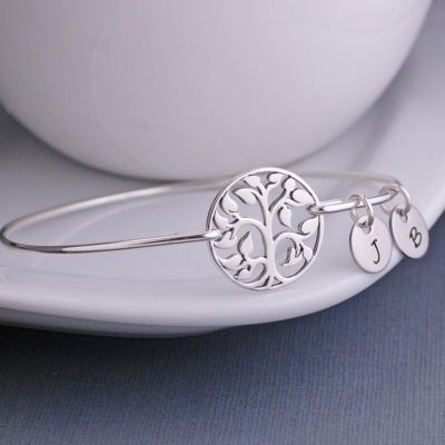 Personalized Initial Pendant Round Bangle
