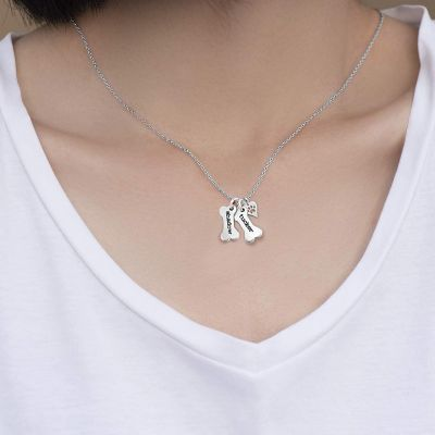 """Personalized Dog Bone And Hand Stamped Necklace Adjustable 16""""-20"""""""