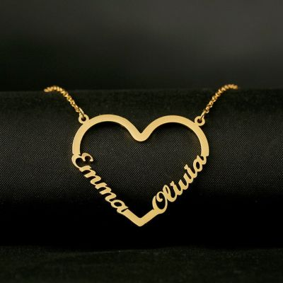 "Custom Heart-shape Double Name Necklace Adjustable 16""-20"""