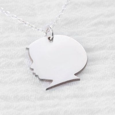 """Personalized Child Silhouette Number Name Necklace Adjustable 16""""-20"""""""