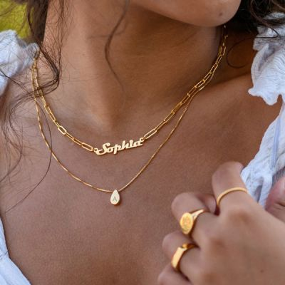 """Personalized Nameplate Necklace Adjustable 16""""-20"""""""