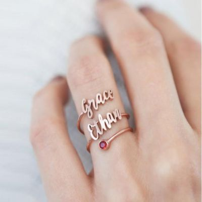 Personalized Two Layers Ring with Birthstone
