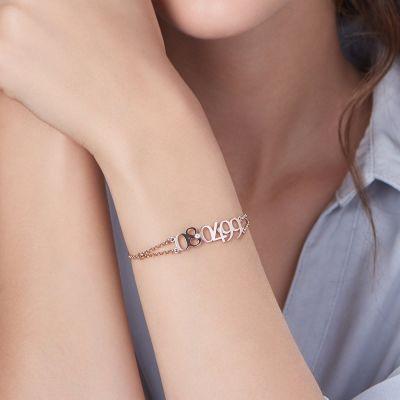 "Custom Date Bracelet with Birthstone lenth Adjustable 6""-7.5"""