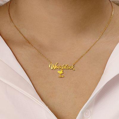 "Woodstock - Custom Name Necklace with Little Yellow Bird Adjustable 16""-20"""