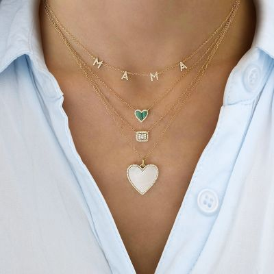 """Diamond Small Heart Necklace with Malachite Adjustable 16""""-20"""""""