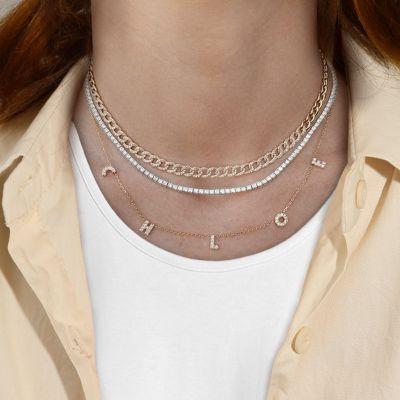 "Custom Diamond Uppercase Letters Necklace Adjustable 16""-20"""