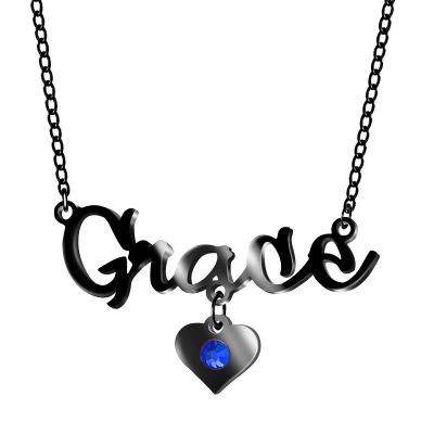 """Custom Name Necklace with Birthstone & Heart Adjustable 16""""-20"""""""