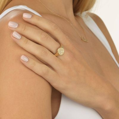 Custom Diamond Initial Signet Ring