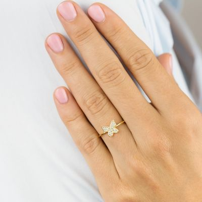 Dainty Diamond Butterfly Ring