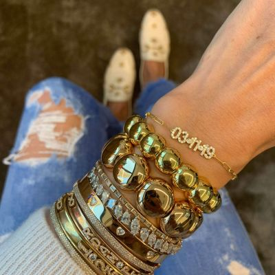 "Custom Diamond Pave Date Bracelet with Birthstone Adjustable 6""-7.5"""